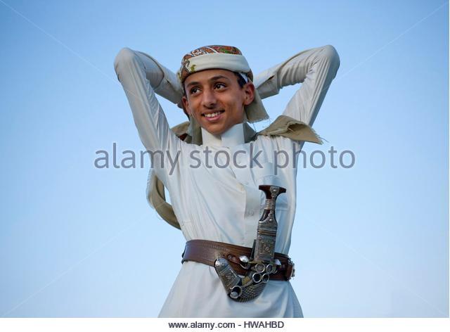 Saudi Arabia, Jazan Province, Jizan, Saudi Man With A Dagger - Stock Image