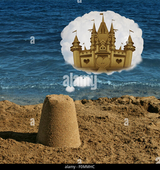 Think big concept and positive visualization symbol as an ordinary basic sand shape dreaming and imagining greatness - Stock-Bilder