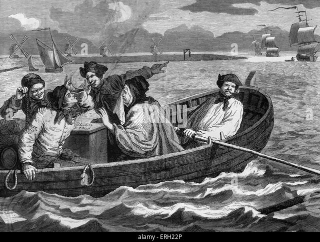 Industry and Idleness - The Idle Apprentice Sent to Sea. Engraving by William Hogarth. Tom Idle at sea, having been - Stock-Bilder