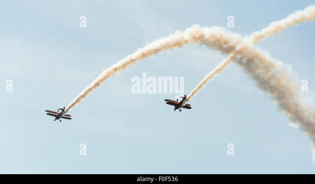 Breiting wingwalkers at the 37th Annual Bristol Balloon Fiesta, - Stock Image