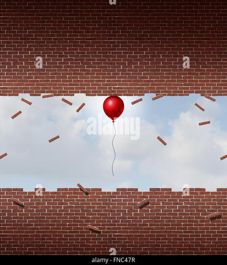 Business power concept and exceptional performance symbol as a small red balloon lifting up and breaking apart a - Stock-Bilder