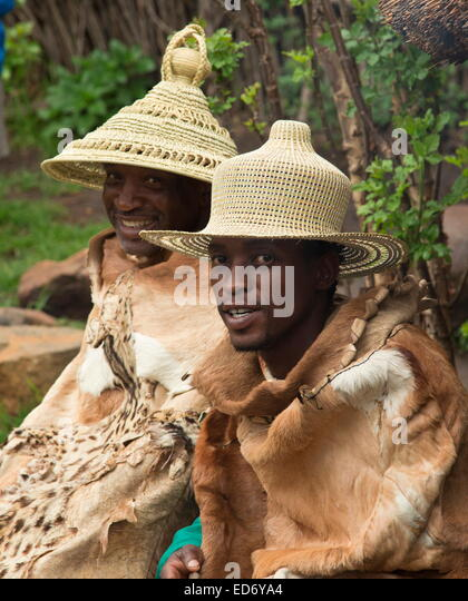 Headman and adviser In traditional Basutho village of Lesotho people. - Stock Image
