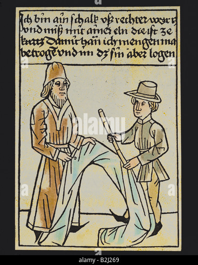 trade, merchants, deceitful draper with too short a cubit, woodcut, coloured, Germany, circa 1470, historic, historical, - Stock Image