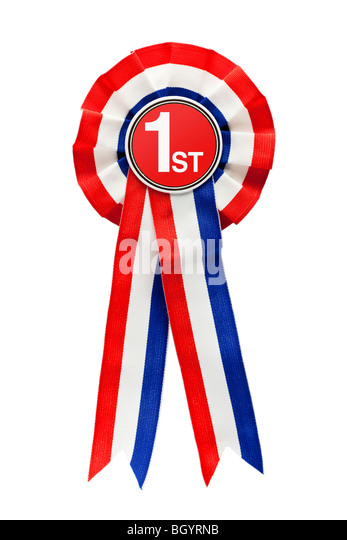 Rosette Ribbon for First Place - Stock Image