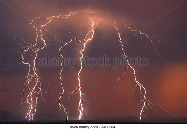 Lightning south east of Sells Arizona on the Tohono O'odam Indian Reservation. Near US Mexico Border - Stock Image