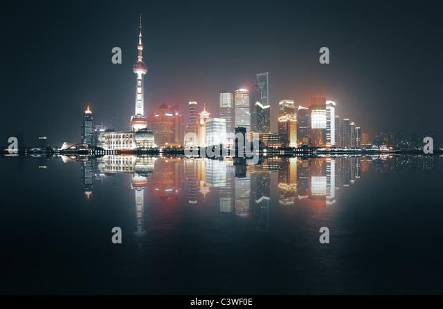 Night view of Shanghai, China - Stock Image