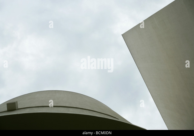 Architectural shot, concrete buildings, low angle view - Stock Image