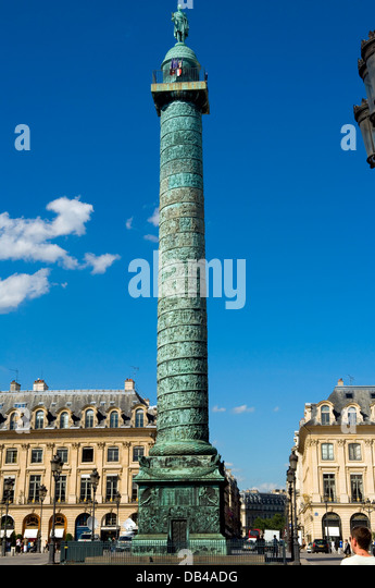 Napoleons column celebrating the victory at Austerlitz, Place Vendôme, Paris - Stock Image
