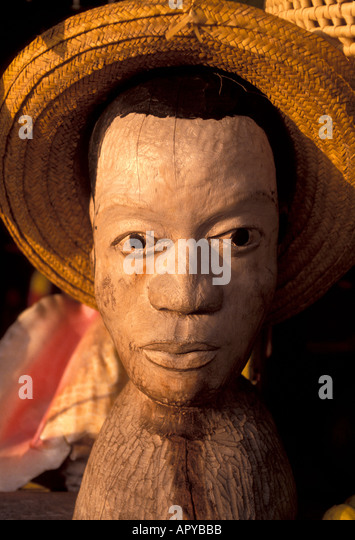 Jamaica Coconut Wood Carving of  make head - Stock Image