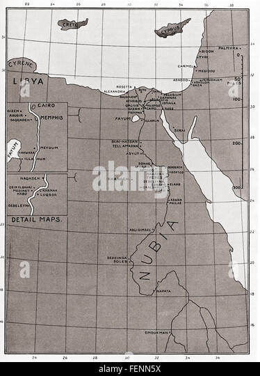 Map of Ancient Egypt. - Stock Image