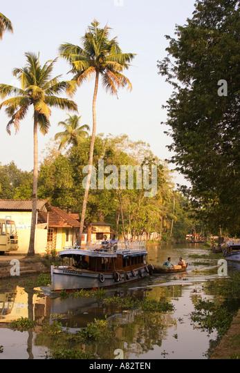 India Kerala backwater canal boat - Stock Image