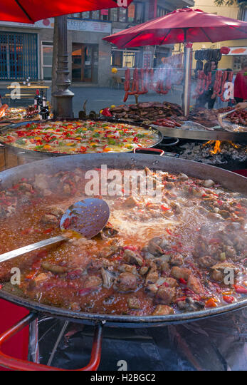 Traditional paella. Street restaurant. Inca. Mallorca Island. Spain - Stock Image