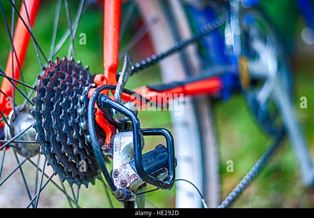 Closeup of mountain bike in the middle of country - Stock Image