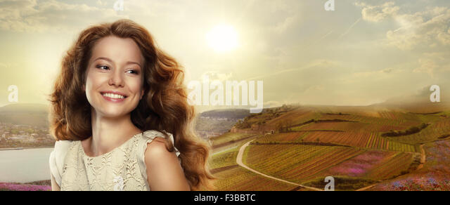 Young Happy Woman with Winning Smile Outdoors - Stock Image