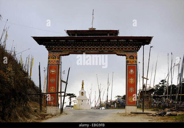 Gate on Yotong La Pass, Yotongla Pass, Bumthang district, Bhutan - Stock Image