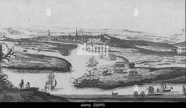 Engraving from a landscape of New Aberdeen, a fishing and trading settlement that eventually became a part of Aberdeen, - Stock Image