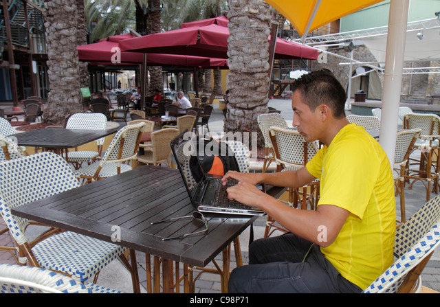 Curaçao Netherlands Antilles Dutch Willemstad Otrobanda Riffort shopping dining outdoor cafe table bistro chair - Stock Image