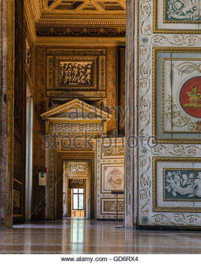 Corridor of the Mantua's Ducal Palace - Stock Image