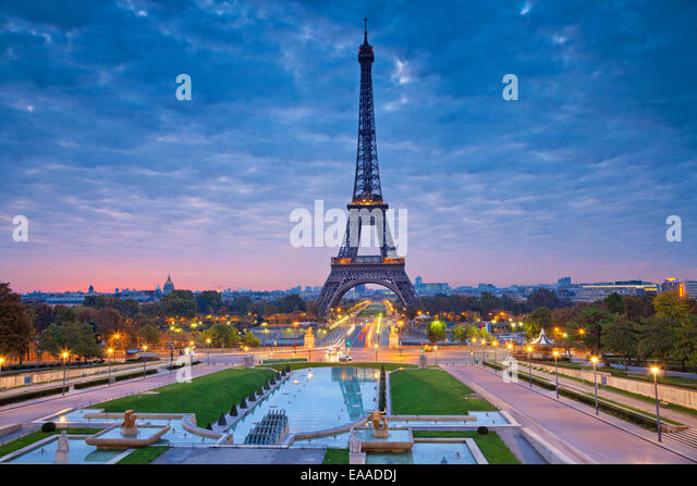 Image of Paris at sunrise with the Eiffel Tower. - Stock Image