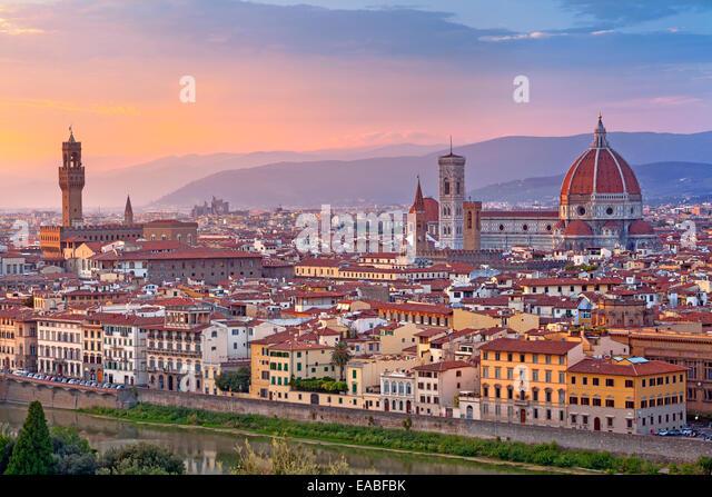 Florence. Image of Florence, Italy during beautiful sunset. - Stock Image