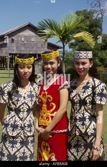 Malaysia Borneo Sarawak Kuching Cultural Village Orang Ulu women ceremonial costumes - Stock Image