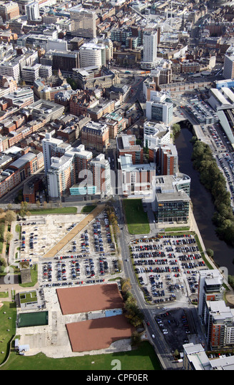 aerial view of Whitehall Road, Leeds - Stock Image