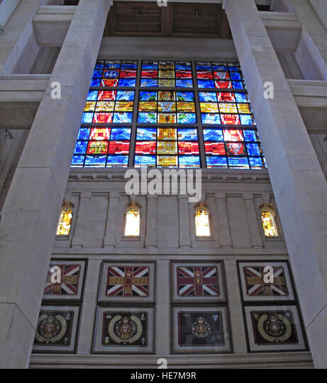 St Annes Belfast Cathedral Interior,Royal Irish Rangers Stained Glass Window - We will remember them,with British - Stock Image
