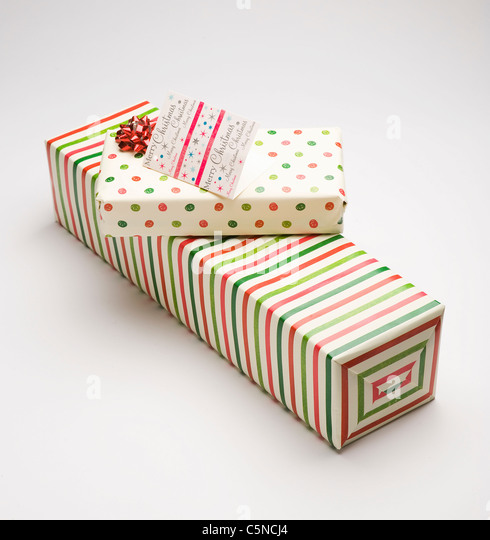 A selection of Christmas presents - Stock Image