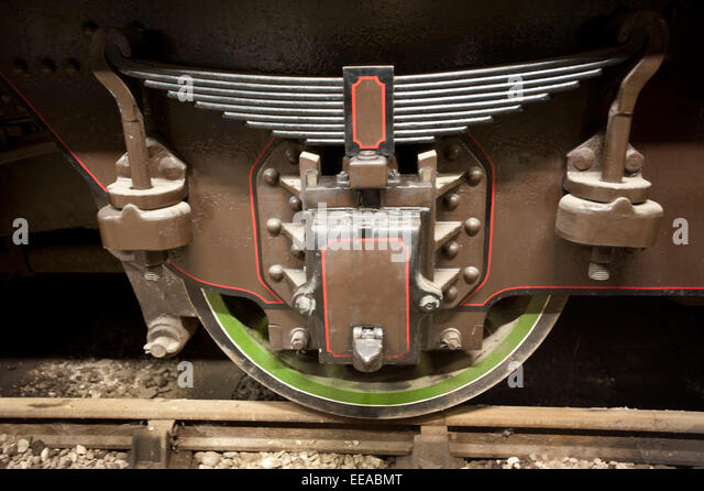 Picture by Roger Bamber :04 October 2014 :Thumbs Up ... The trailing Bogie wheel and giant spring on Britains first - Stock Image