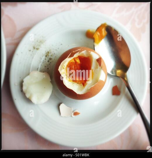 A perfect boiled egg - Stock Image
