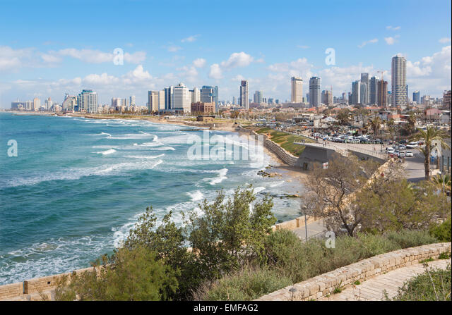TEL AVIV, ISRAEL - MARCH 2, 2015: The outlook to waterfront and town from old Jaffa - Stock Image