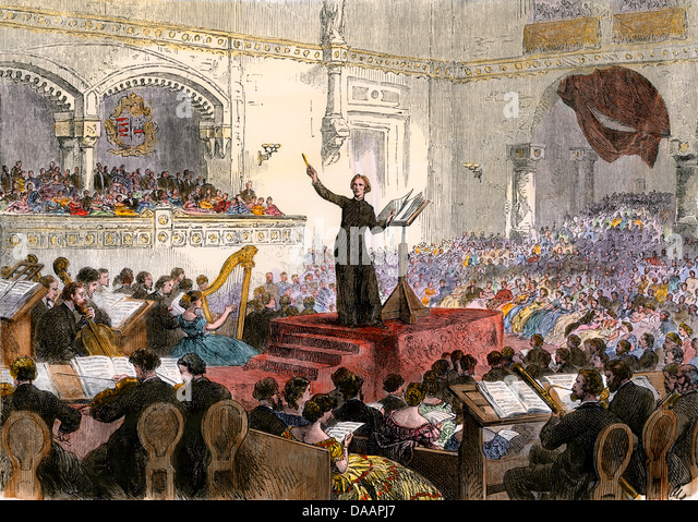 Franzi Liszt conducting his new Oratorio at Budapest, Hungary, 1860s. - Stock Image