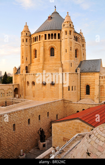Church of the Dormition at Mount Zion, Jerusalem, Israel, Middle East, the Orient - Stock Image