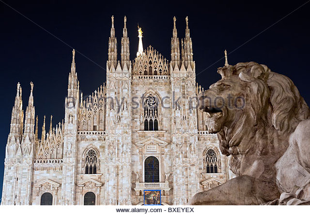 Night view of Duomo cathedral at night, Milan, Italy - Stock Image