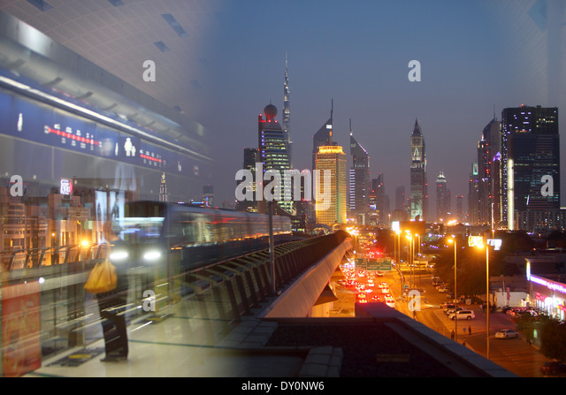 Al Karama Metro Station 2, view over financial district, Sheikh Zayed road, modern, architecture, Dubai - Stock Image