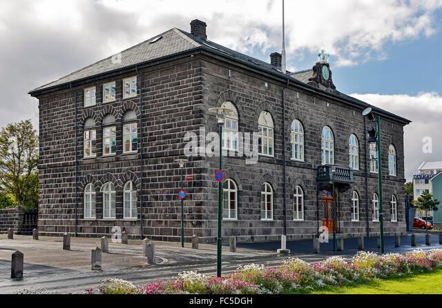 Iceland's House of Parliament, Reykjavik, Iceland - Stock Image