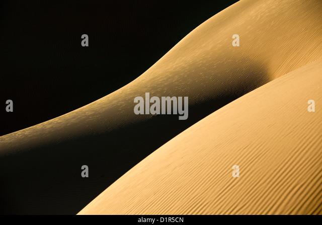 Morocco, M'Hamid, Erg Chigaga sand dunes. Sahara desert. Detail ripple-marks. - Stock Image