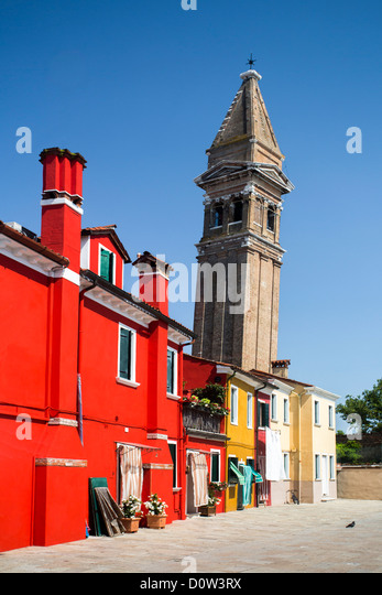 Italy, Europe, travel, Burano, architecture, colourful, colours, tourism, Venice, tower - Stock-Bilder