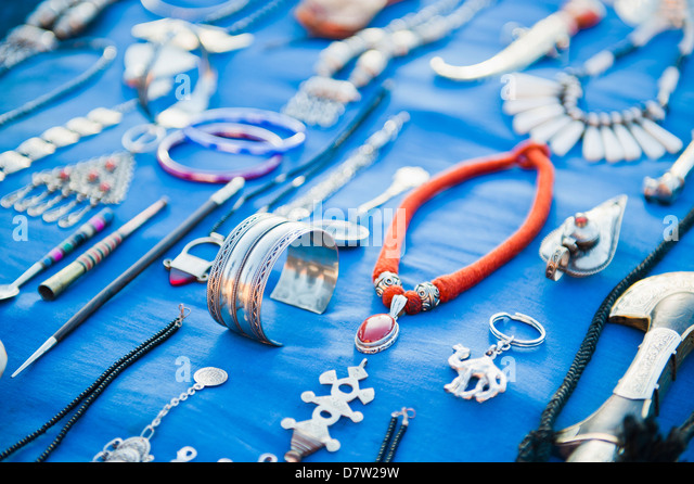 Berber jewellery and Moroccan knives for sale at the Dades Gorge, Dades Valley, Morocco, North Africa - Stock Image