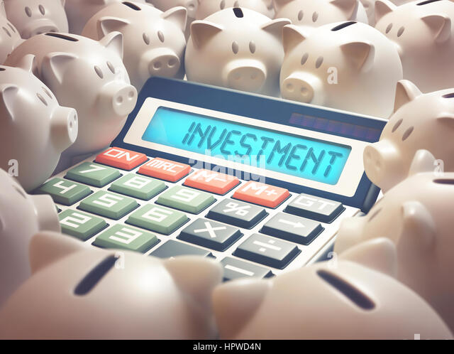 Calculator with the word investment and piggy bank, illustration. - Stock-Bilder