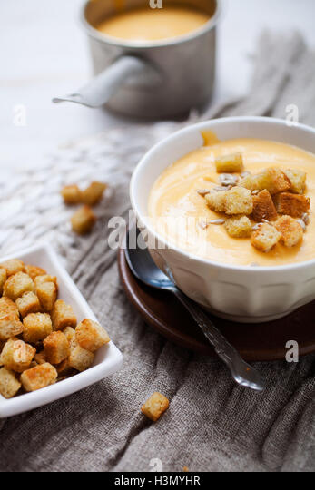 Soup with sweet potatoes, carrots and coconut - Stock Image