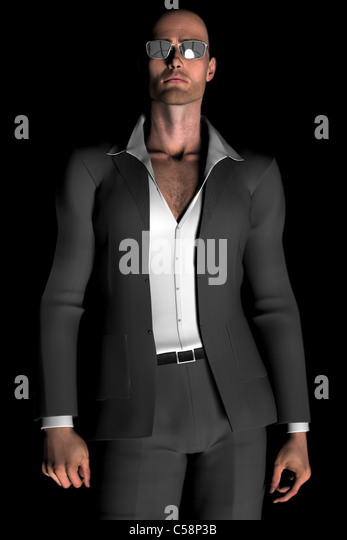 Digital illustration of a young, bald man in a suit and sunglasses. - Stock-Bilder