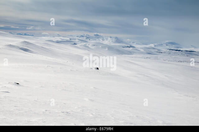 Winter mountain landscape. Huldraheimen, Gausdal Westfjel, Norway. - Stock Image