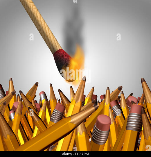 Creative burnout business concept as an ignited match stick burning yellow pencils and as a symbol for education - Stock Image