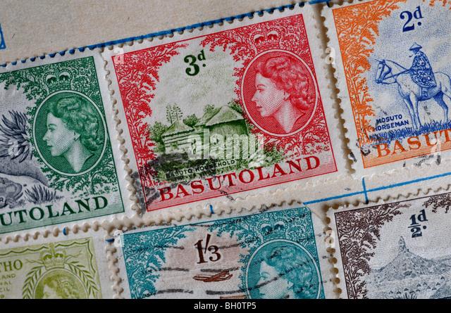 Basutoland postage stamps in stamp album - Stock Image