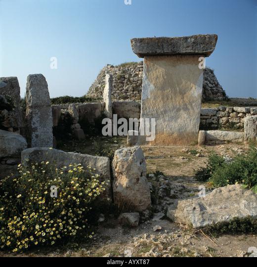 Megalith-Denkmal, Taula, Talaiot, praehistorisch, Steinzeit, Trepuco, Menorca, Balearen - Stock Image