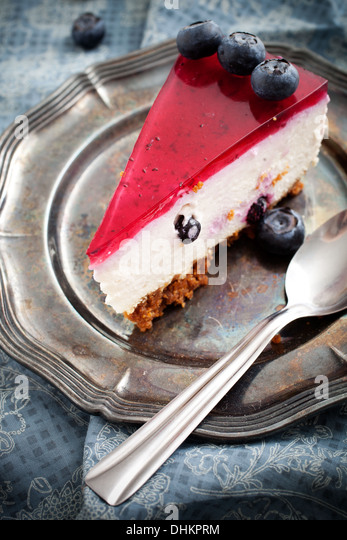 Close up of homemade blueberry cheesecake, selective focus - Stock Image