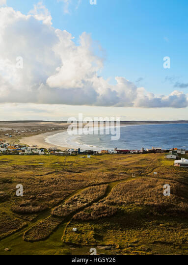 Uruguay, Rocha Department, Elevated view of the Cabo Polonio. - Stock Image
