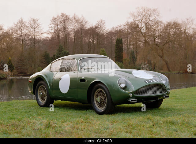 1961 Aston Martin DB4 GT Zagato 3. 7 litre Lightweight Berlinetta racing number 1 VEV Country of origin United Kingdom - Stock Image