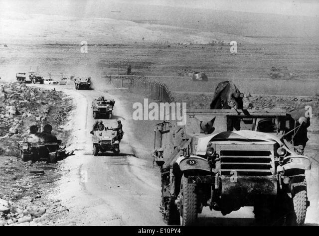 Yom Kippur War - Israeli military column on its way to Syria - Stock Image